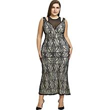 Plus Size Mesh Panel Lace Evening Dress