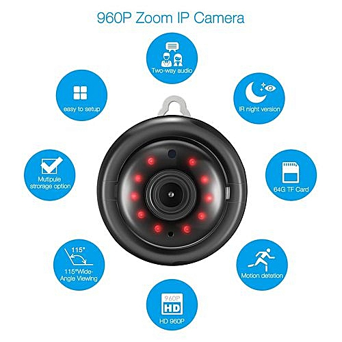 Digoo DG-M1Q Wireless WIFI 960P Mini Smart IP Camera Home Security Night  Vision Sand Black