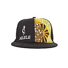 Black And Orange Snapback Hat With Kelele Color On Panel