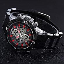 Olivaren North Calendar Quartz Wrist Watch Silicone Strap Bracelet Men WatchRed