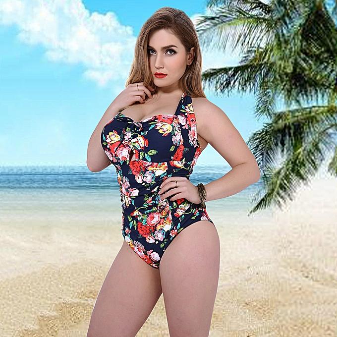 abc7ddf776b Women Plus Size One Piece Swimsuit Floral Print Underwire Push Up Monokini  Swimwear Bathing Suit Pink