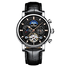Luxury 3ATM Water-Proof Automatic Mechanical Watch  Leather Skeleton Man Business Wristwatch Chrono/Moon Phase/Week/Calendar + Box
