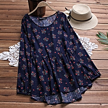 Women's Crew Neck Floral Print Asymmetrical Short Mini Dress Party Shirt Dress