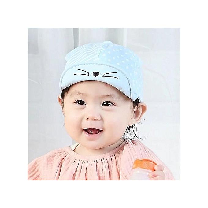 37d2b6ea27d ... Child Kid Baby Cats Striped Soft Brim Flanging Sun Hat Baseball Peaked  Cap ...