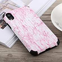 Travel Box Shape Painted Marble Protective TPU + PC Case for iPhone XR (Pink)