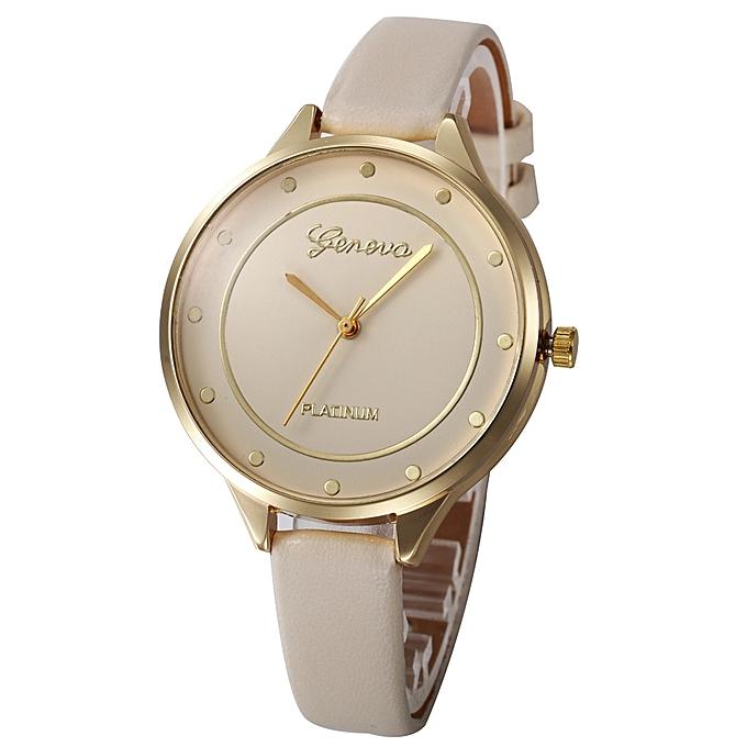 Women Casual Checkers Faux Leather Quartz Analog Wrist Watch BG - Beige