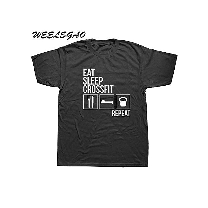 6a77590d31 Eat Sleep Crossfit T Shirt Men Summer Short Sleeve Cotton Man Funny Crossfit  T-shirts