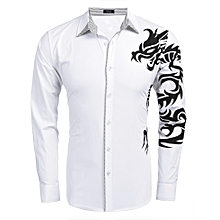 Men's Long Sleeve Print Patchwork Casual Button Down Shirt-White
