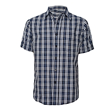 Deep Blue & White Patterned Short Sleeved Shirt