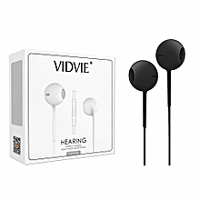 HS604 Earphones - With Remote and Mic- Black