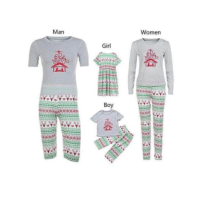 bluerdream-Man Family Matching Christmas Pajamas Set Blouse +Santa Printing  Pants- Gray f95eb3659