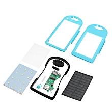 4 Colors 5000mAh Solar Power Bank Dual 2 USB Waterproof Portable Charger Case(blue)