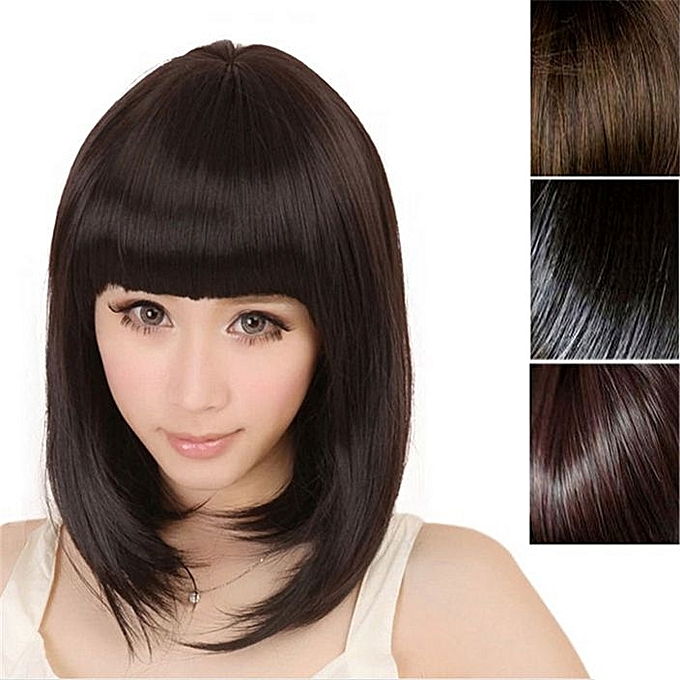 aa923254e64 Fashion New Womens Ladies Short Straight Full Bangs BOBO Hair Cosplay  Wig-Light Brown - Light Brown