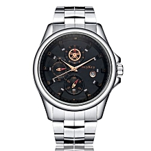 Fashionable Male's Stainless Steel Military Waterproof Army Date Quartz Wrist Watch-Golden