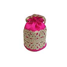 Raw Silk Batwa with Cutwork Lace - Pink