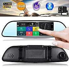 "7"" HD 1080P Car DVR Dual Lens GPS Dash Cam Rearview Mirror Camera Recorder Wifi"