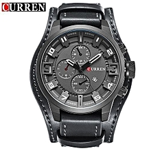 8225 Casual Decorative Sub-dial Male Quartz Watch - Black.