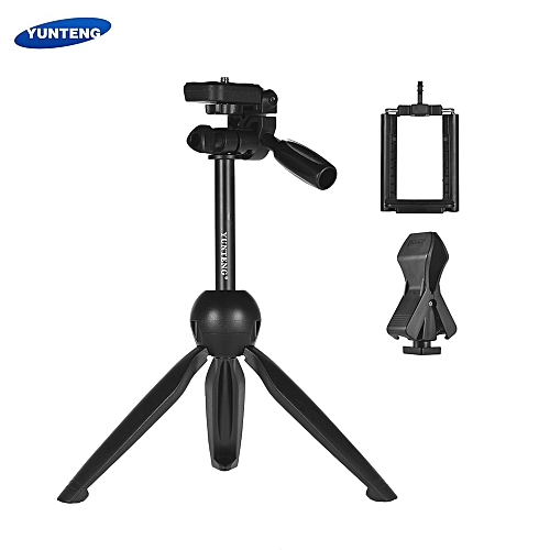YUNTENG VCT-2280 Multi-function Mini Tabletop Tripod Live Streaming Tripod  Microphone Holder with 1/4 Inch Screw for DSLR ILDC Camera 55-95mm Width