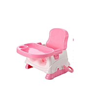 Adjustable Baby Toddler Booster Feeding High Chair Seat With Safety Belt & Tray pink