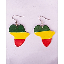 African Map Light Multicolour /Red Yellow Green Colours Earring African Unisex