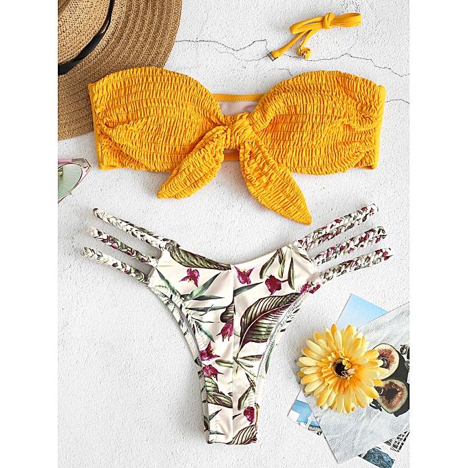 11869ed0c44e50 ZAFUL Knot Shirred Leaf Print Braided Bikini Set