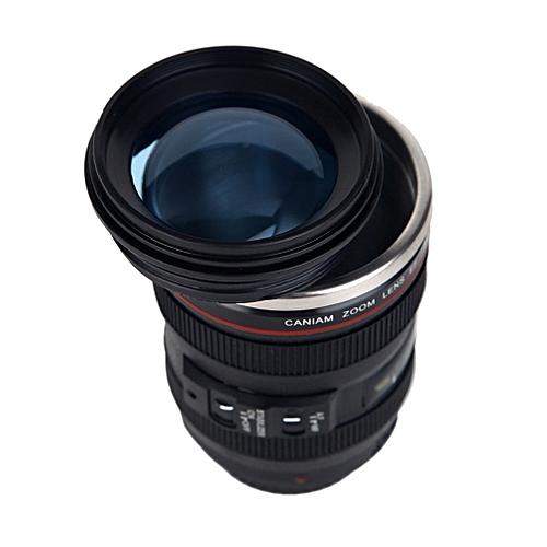 Camera Lens Shape Cup Coffee Tea Travel Mug Stainless Steel Vacuum Flasks-Black