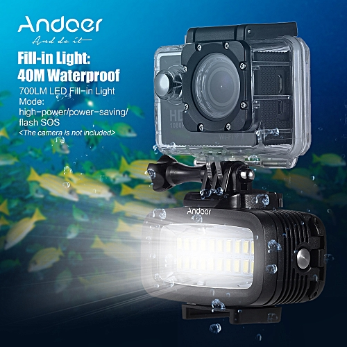Andoer High Power 700LM Diving Video Fill-in Light LED Lighting Lamp  Waterproof 40M 1200mAh Built-in Rechargeable Battery with Diffuser for  GoPro