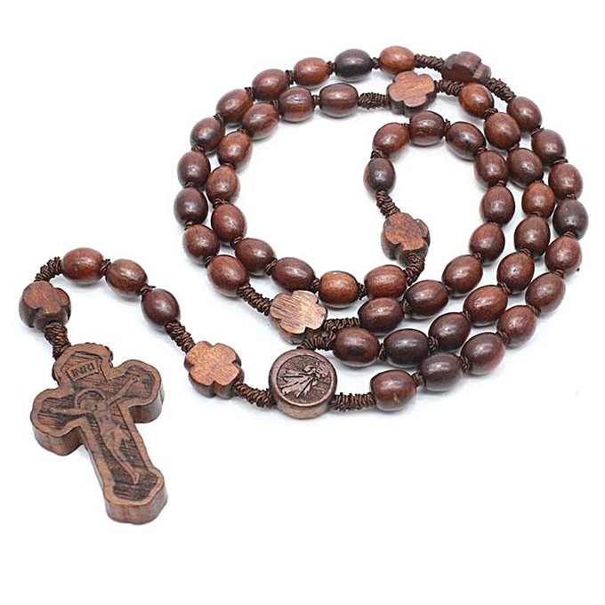 Vintage Wooden Rosary Brown Wooden Beads Chain Cross Pendant Necklaces