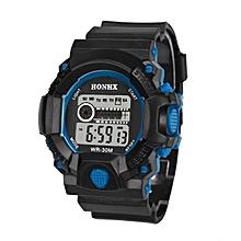 HONHX Africashop Watch  Mens LED Digital Date Alarm Waterproof Rubber Sports Army Watch Wristwatc BU-Blue