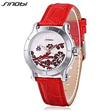 Female Quartz Watch Leather Strap Mineral Glass Mirror Plant Pattern Dial Wristwatch-RED