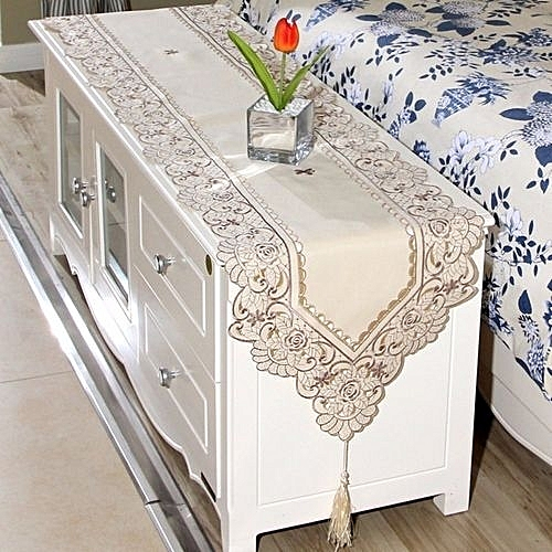 buy universal beige table runner embroidered floral lace fabric