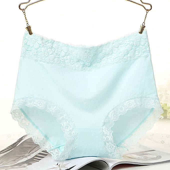 9c7e24fb47 New lace side high waist underwear women comfortable cotton large size  briefs-blue