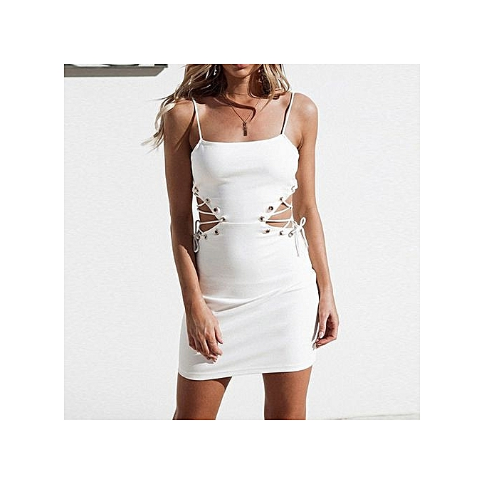 ddb9af2569fc Technologg Dress Women Bandage Casual Solid Sleeveless Above Knee Mini Dress  Loose Party Dress-White