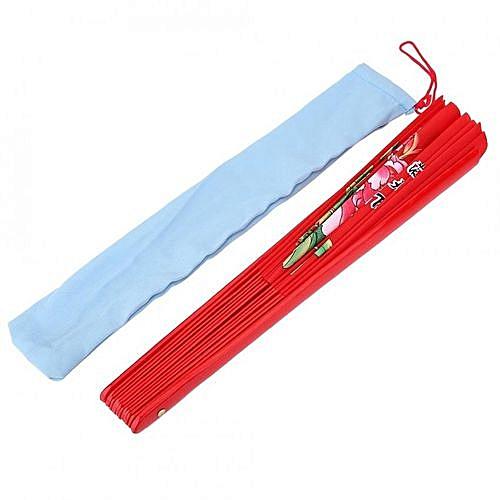 Tai Chi Martial Arts Kung Fu Bamboo Silk Fan Right Hand Wushu Dance Pratice  Training (Red)