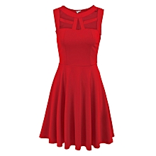 Women Sleeveless Hollow Mini Pleated Dress Solid Slim Party Casual ( Red )