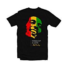 Bob Marley - 'Wake Up & Live' Print - Black Cotton T-shirt