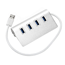 CO Portable Size Super High Speed Aluminum Alloy 4 Ports USB 3.0 Hub Adapter-silver