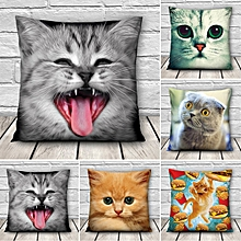 3D Cute Expressions Cats Throw Pillow Cases Sofa Office Car Cushion Cover Gift