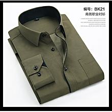 Men Shirts Long Sleeve Turn-down Collar White Striped Regular Fit-BK21