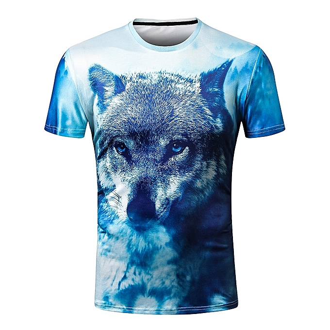 a99fb70915d6 Fashion 3D Wolf Print Casual T-shirt - BLUE IVY   Best Price