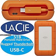 LaCie Rugged 5TB Thunderbolt USB-C Portable Hard Drive + 1mo Adobe CC All Apps (STFS5000800)