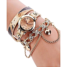 Woman Leather Rhinestone Rivet Chain Quartz Bracelet Wristwatch -Beige