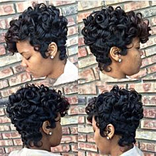 Women Short Black Brown FrontCurly Hairstyle Synthetic Hair Wigs For Black Women