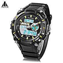 Male Dual Movt Sport Watch + Chronograph 5ATM + Outdoor Men Wristwatch-YELLOW