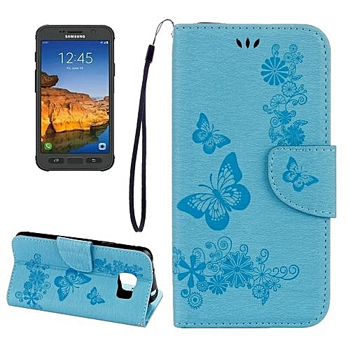 super popular 5fdff 8d3ed For Samsung Galaxy S7 Active Pressed Flowers Butterfly Pattern Horizontal  Flip Leather Case with Holder and Card Slots and Wallet and Lanyard(Blue)