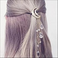 Women Moon Crystal Rhinestone Beads Dangle Hairpin Hair Clip
