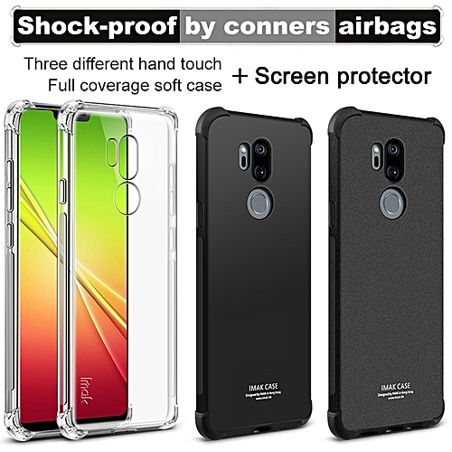 huge selection of 45b83 91ec7 Case Airbag Cover Shockproof Back Cover For LG G7 ThinQ Soft Silicone Cover  For LG G7 TPU Matte Black + Screen Protector