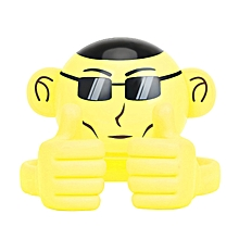 APE: Wireless Monkey-Shaped,Bluetooth Speaker with Adjustable Thumbs-up Smartphone Holder-Yellow