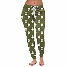 Hequeen Skull Printed Joggers Womens Pants Trousers Casual Womens Joggers Sports Pants Light Green