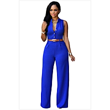New Summer Europe and America Fashion Women Jumpsuits Office Lady Single-breasted High Elasticity Straight Rompers-blue